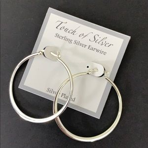 Touch of Sliver Sterling Silver Earwire Hoops
